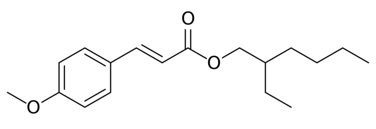 Chemical structure of Ethylhexyl Methoxycinnamate